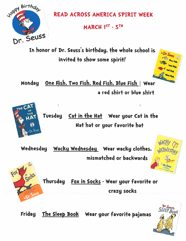 Read Across America Spirit Week March 1st- 5th Featured Photo