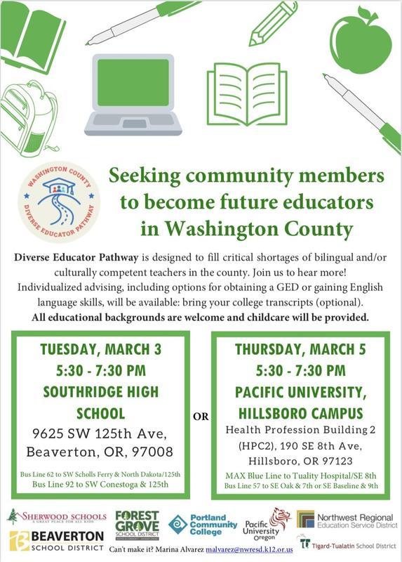 Seeking future educators in Washington Ct. Flyer