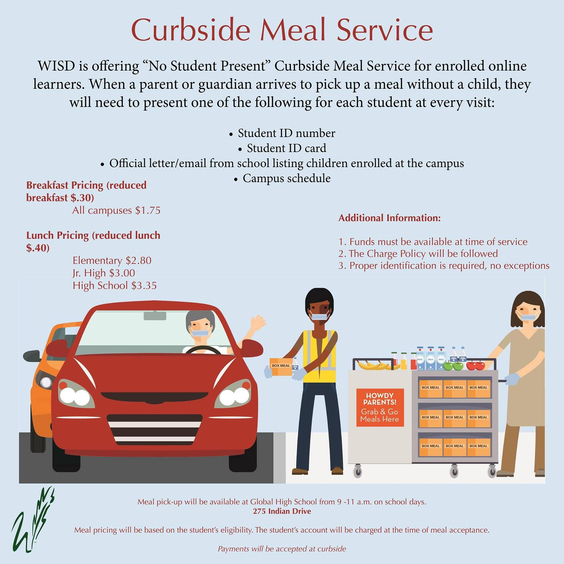 curbside meal service available 9-11 on school days at Global High School
