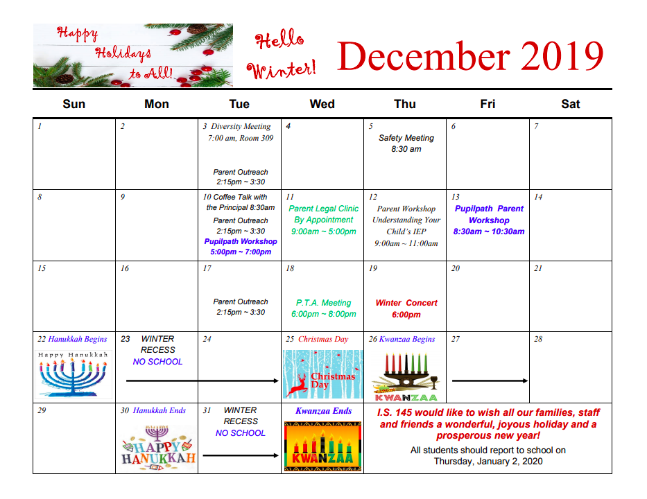 PTA Calendar for December
