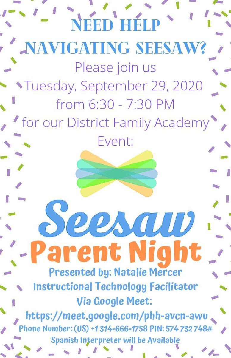 English Version of the Seesaw Parent Night Flyer