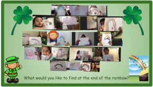 Zoom class showing drawings of rainbows