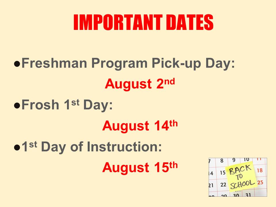 Important dates power point slide