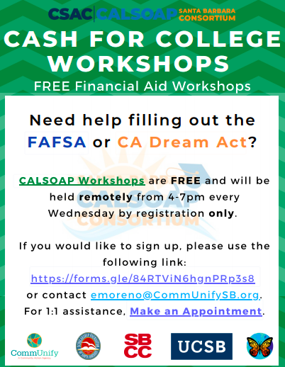 Cash 4 College Workshops hosted by Cal-SOAP / Talleres de Cash 4 College organizados por Cal-SOAP Featured Photo