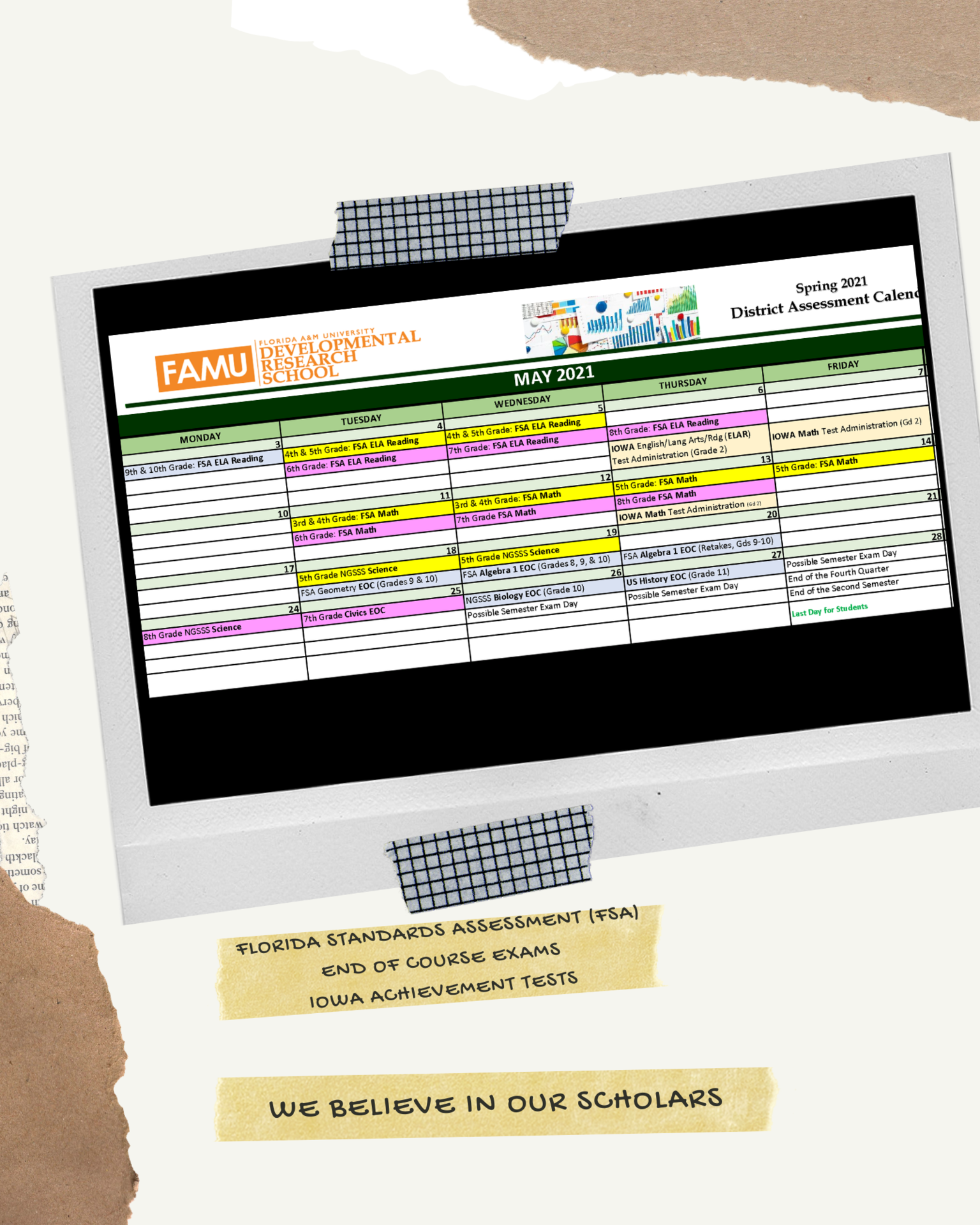 May 2021 District Assessment Calendar