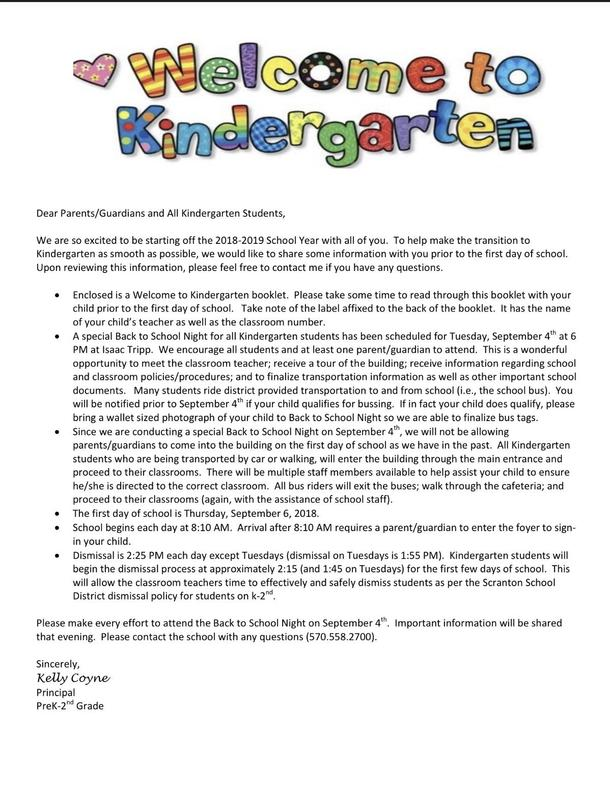 welcome to kindergarten informational letter