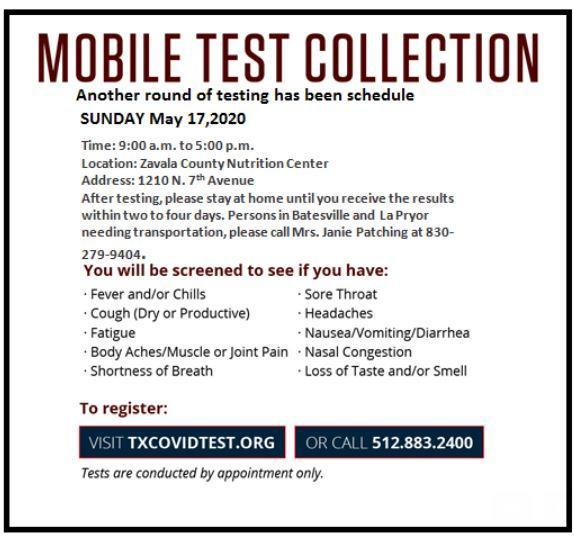 New COVID19 Testing Date set for Sunday, May 17th. Featured Photo