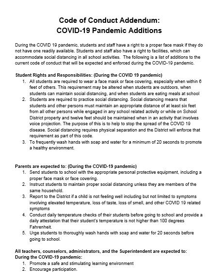 Code of Conduct Addendum Featured Photo