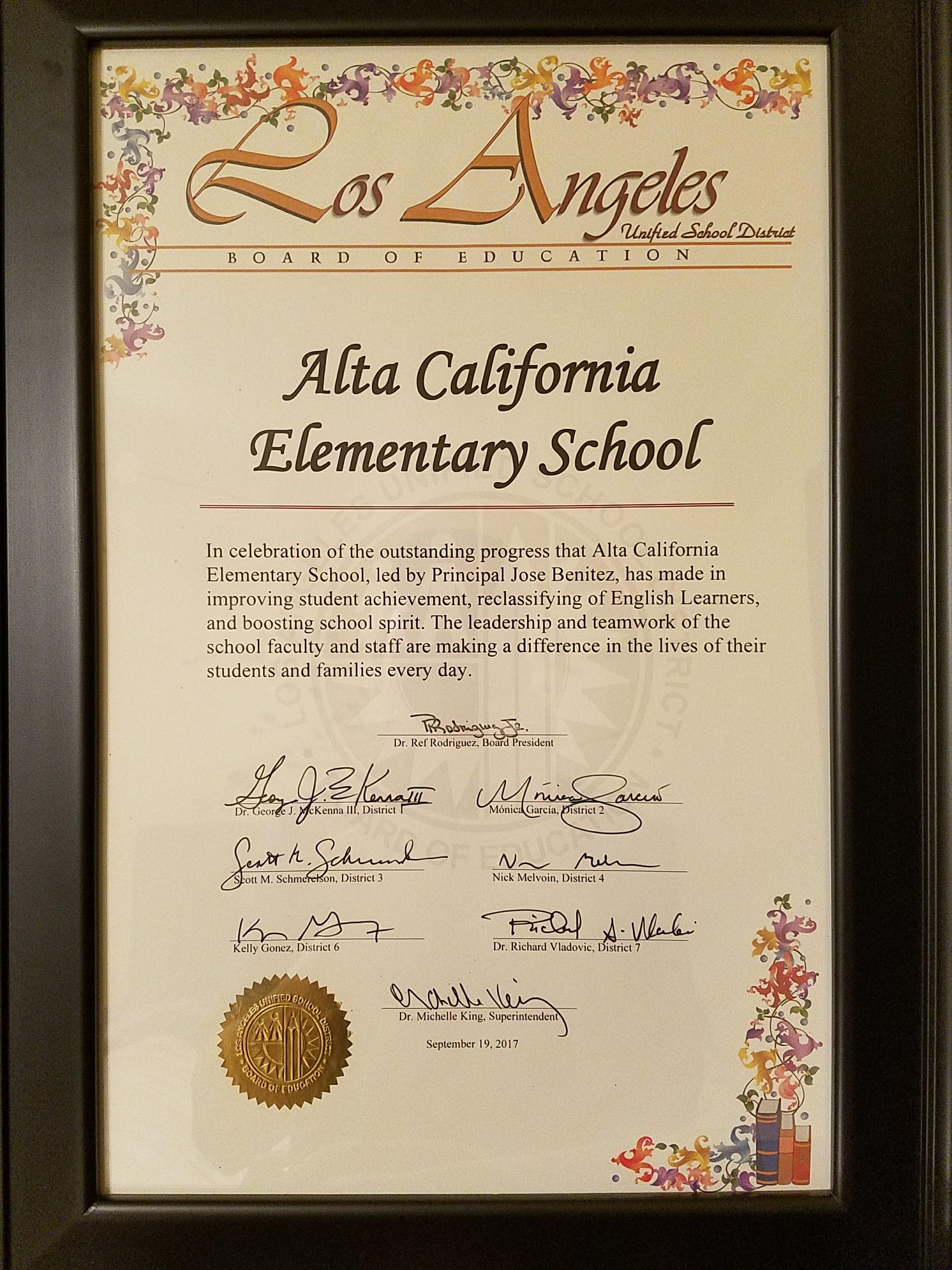 Alta California Es Is Honored By The School Board