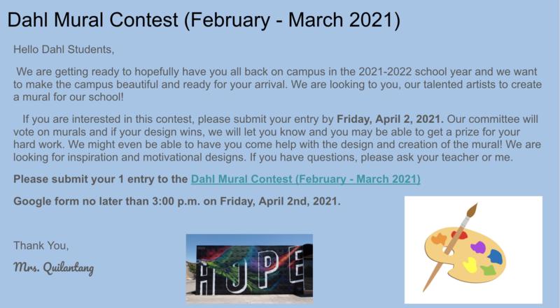 Dahl Mural Contest 2021