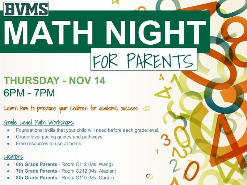 MATH NIGHT for BVMS Parents on Thursday, Nov 14 Featured Photo