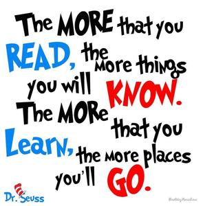 image of a quote from Dr. Seuss about books