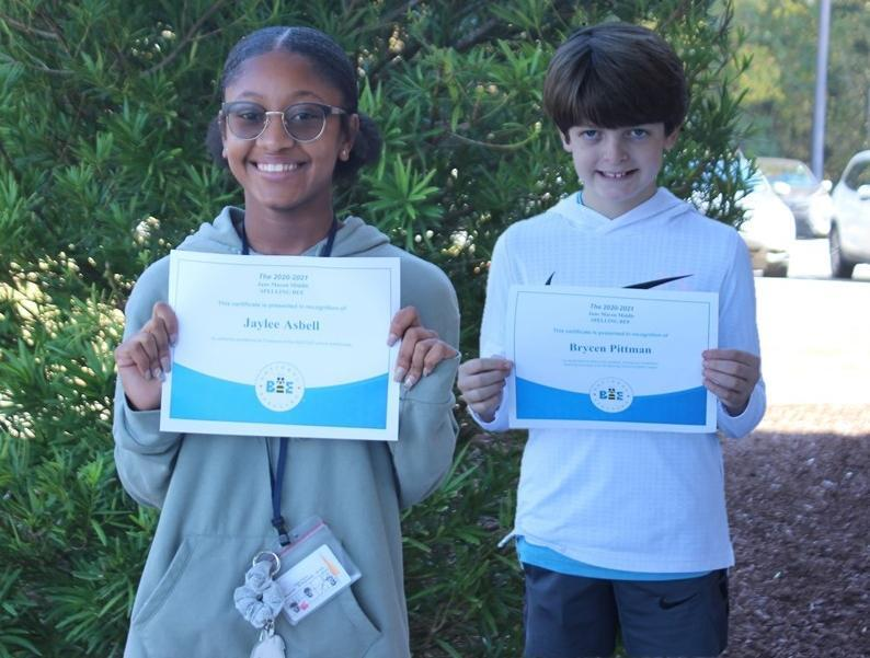 JMMS Spelling Bee Champion and Alternate