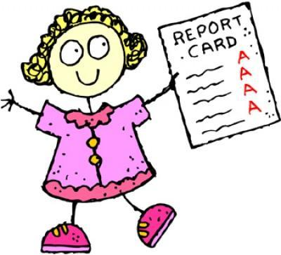 girl with Report Cards