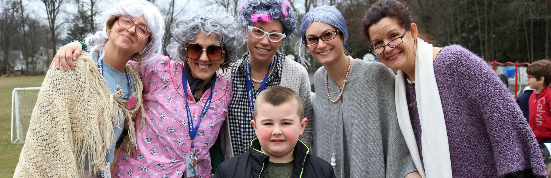 Photo of Tamaques 1st grader teachers dressed as elderly people on the 100th Day of School.