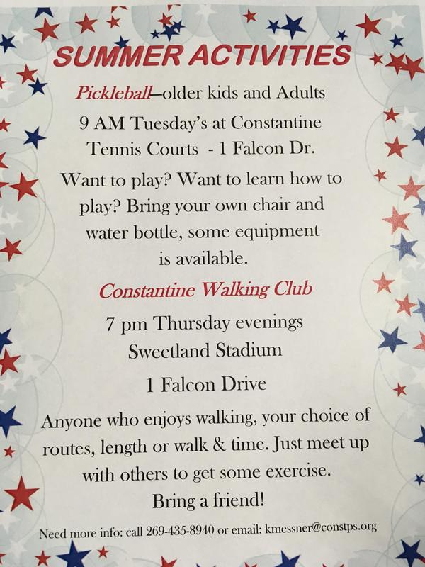 Summer Activities are free, Pickleball and Walking Club.