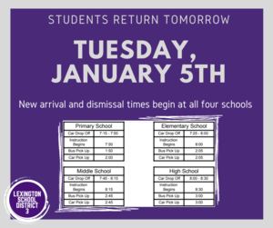 Students Return, New Bell Schedules Implemented on January 5th