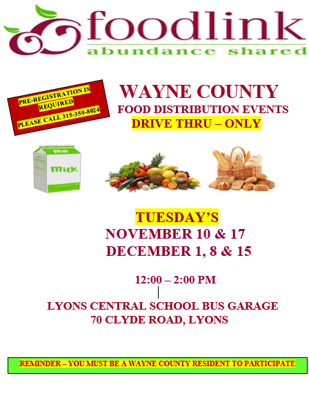Wayne County Food Distribution Events for November and December, 2020