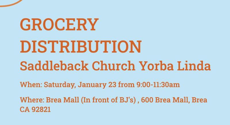 Grocery Distribution at Saddleback Church in Yorba Linda on January 23