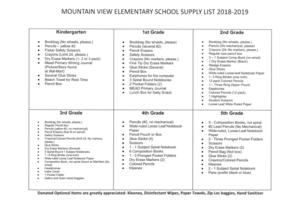 2018-2019 Supply List