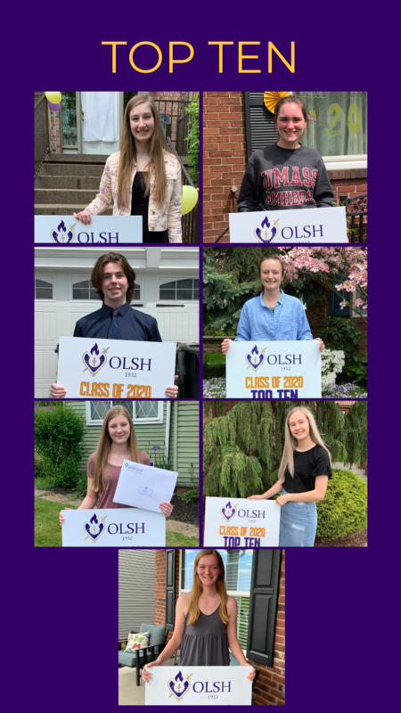 image depicting the top 10 students in the OLSH class of 2020