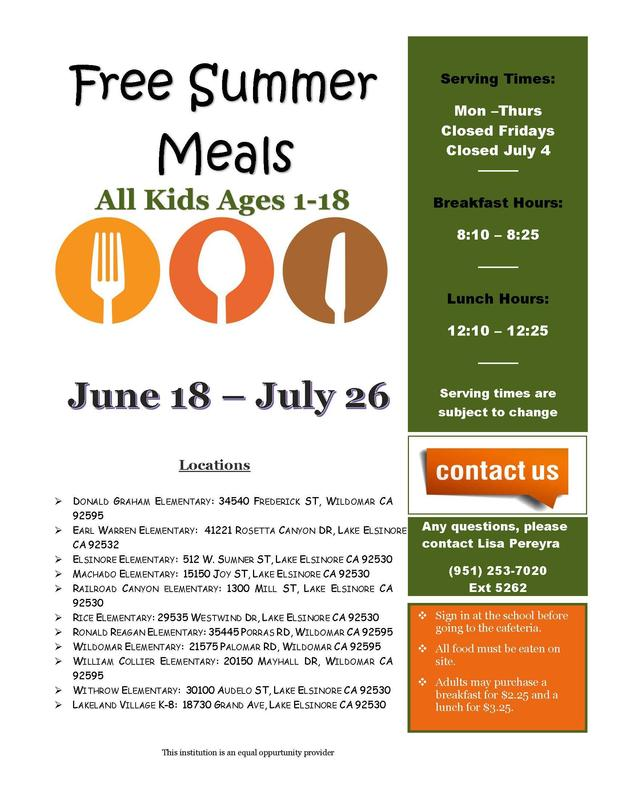 Summer Meal Program Flyer 2018