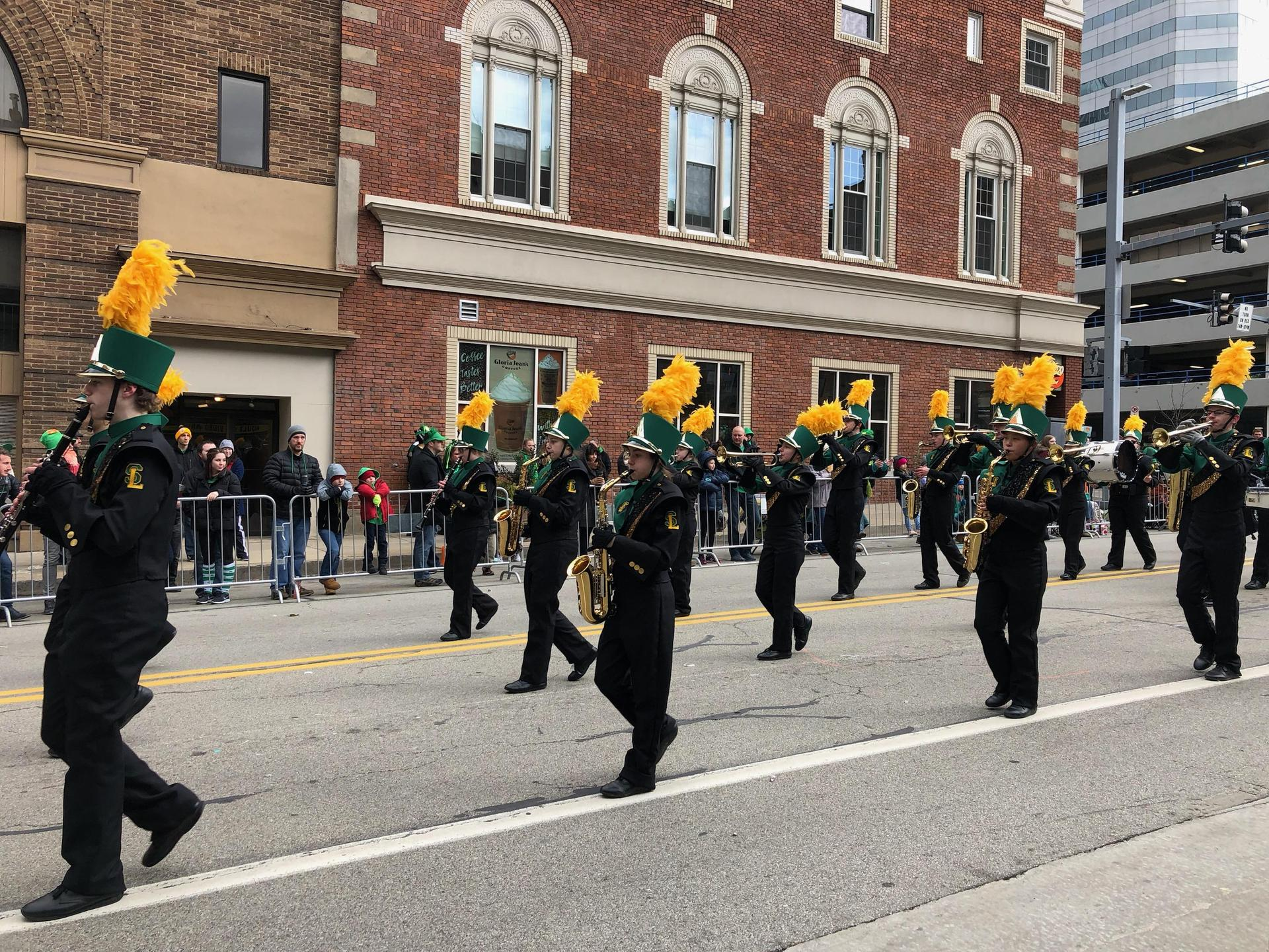 Marching band performs at St. Patrick's Day Parade