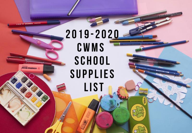 2019-2020 CWMS School Supplies List Thumbnail Image