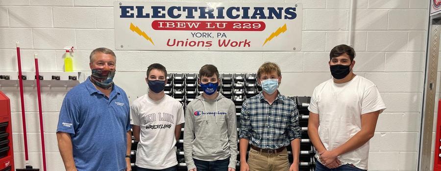 Day 1 Electrical Pre-Apprenticeship Program with Apprentice Instructor Scott Brenneman, Alex Kuehne, Austin Kuehne, Ian Stambaugh, and Naylor Stanley