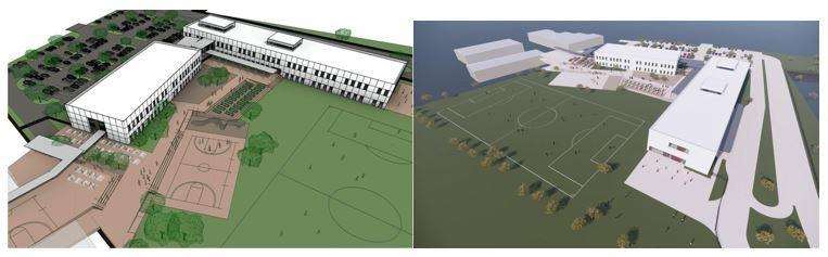 Figure 5. Proposed New Instructional Buildings, SE View. Figure 6. Proposed New Instructional Buildings, NE View.
