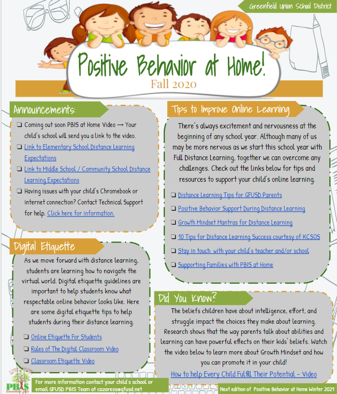 PBIS Parent Newsletter Fall - Click here to enlarge Thumbnail Image