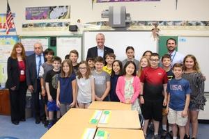 NJ Governor Phil Murphy poses for a picture with a 5th grade class at Wilson School.