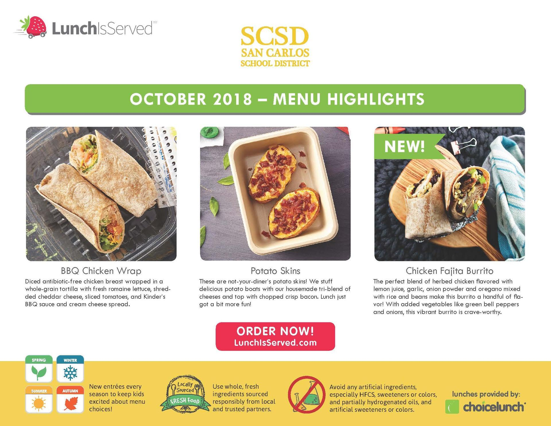 Hot lunch highlights for October