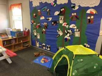 Camping theme in PreK classroom