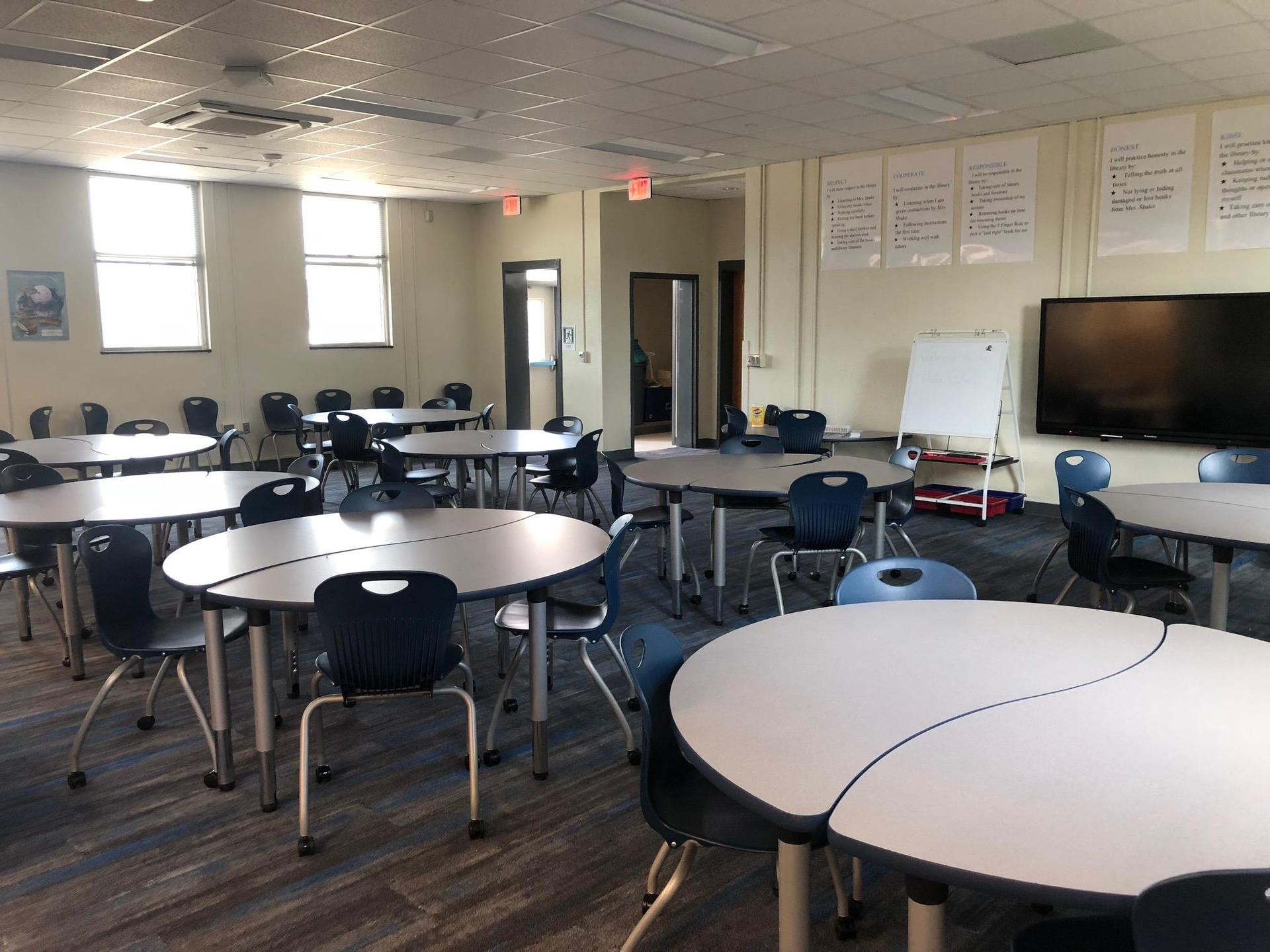 New tables and chairs for class seating in the new Media Center at Springdale Elementary