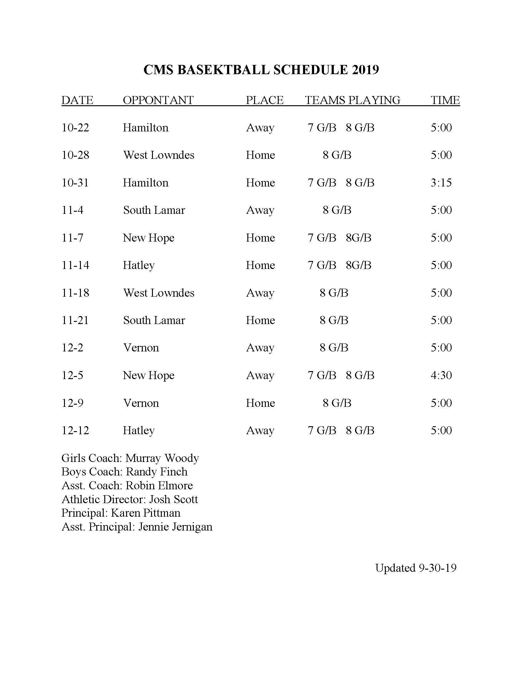 2019 CMS Basketball Schedule