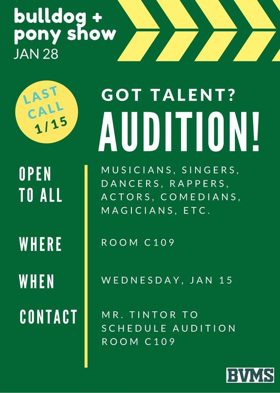 Last Call for Auditions for the Bulldog & Pony Show by Jan 15th! Featured Photo