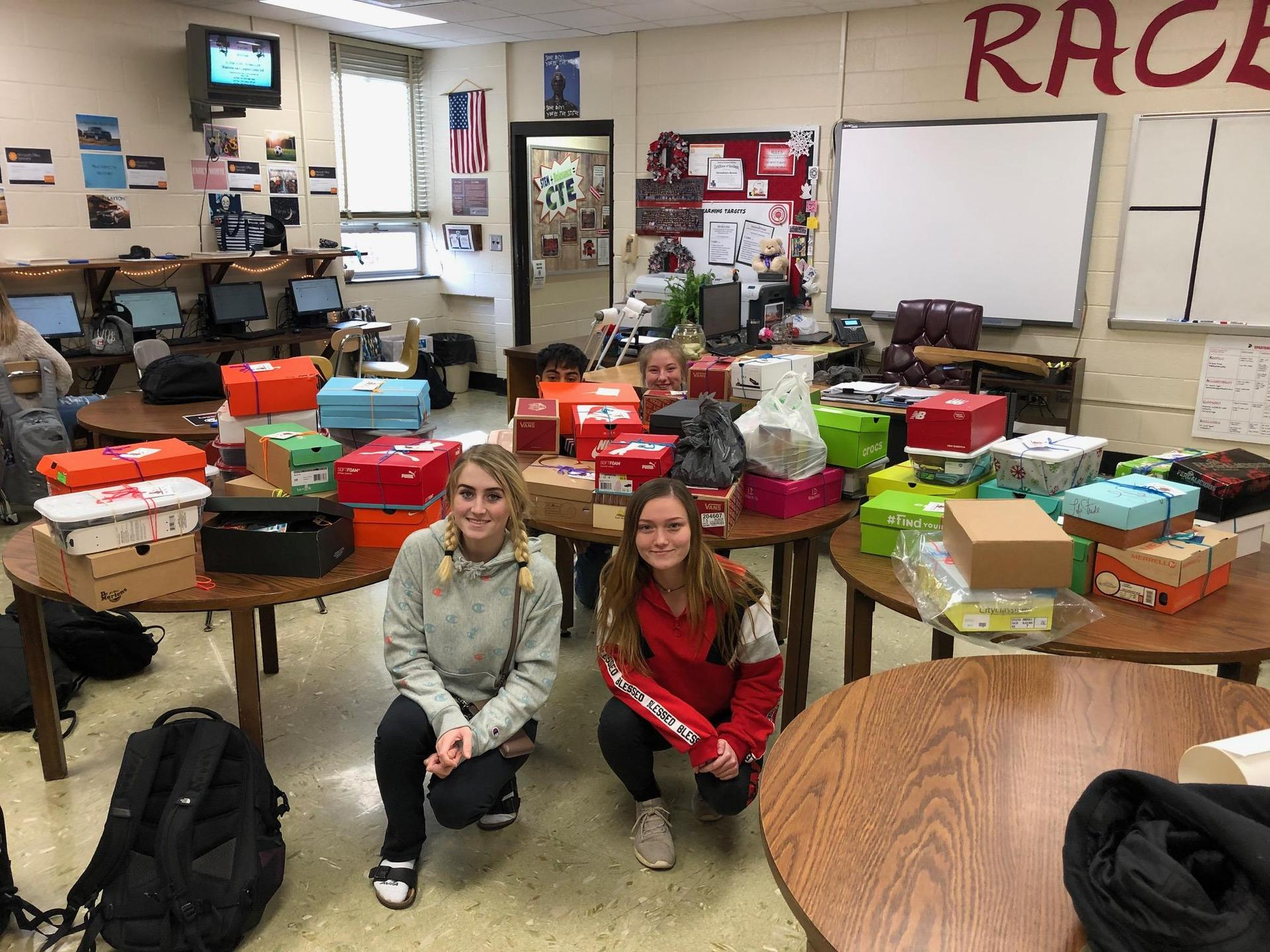 Thanksgiving Shoeboxes for those less fortunate. Jaylin Walker had the idea and over 50 club members stepped up and volunteered to prepare a shoebox outside of school on their own time and dime.