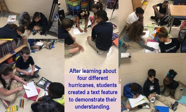 After learning about four different hurricanes, students created a text feature to demonstrate their understanding.