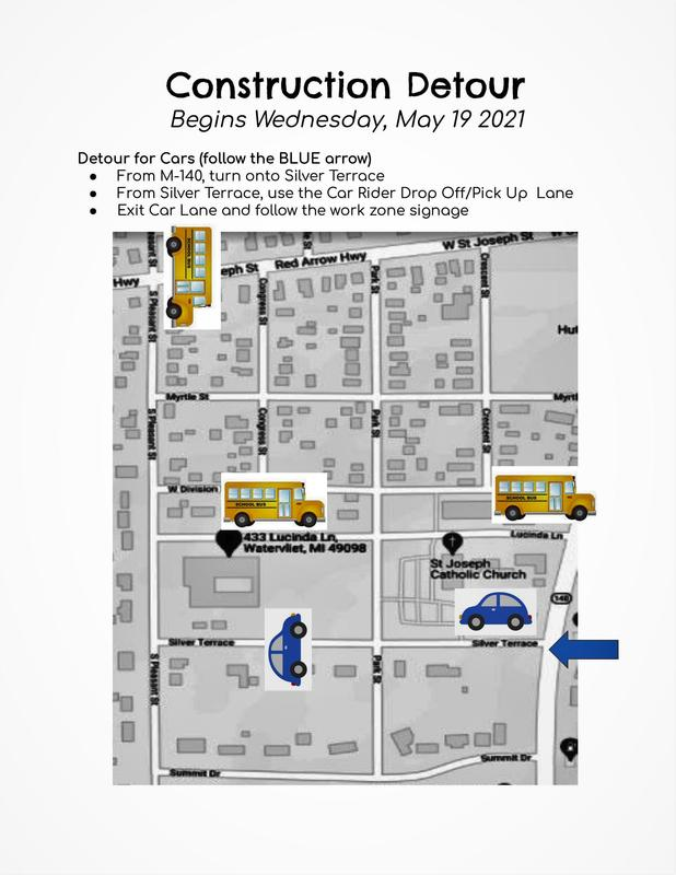 A map of the Detour Route for buses and for car traffic around South School