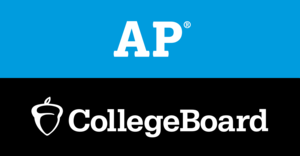 Blue, black and white logo for AP College Board