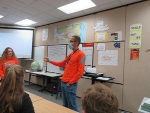 TK 7th grade social studies teacher Mr. Wilkinson introduces the lesson.