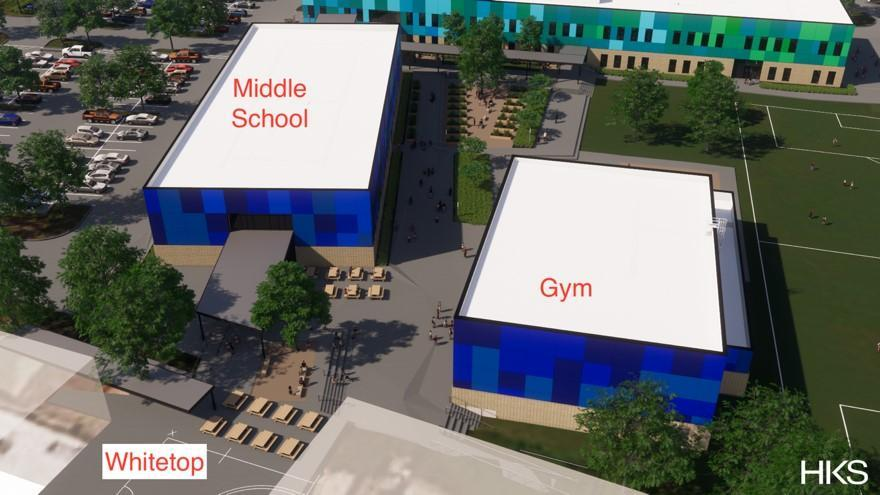 Figure 3 View of the Gym and Middle School Building from the Whitetop. (HKS Architects)