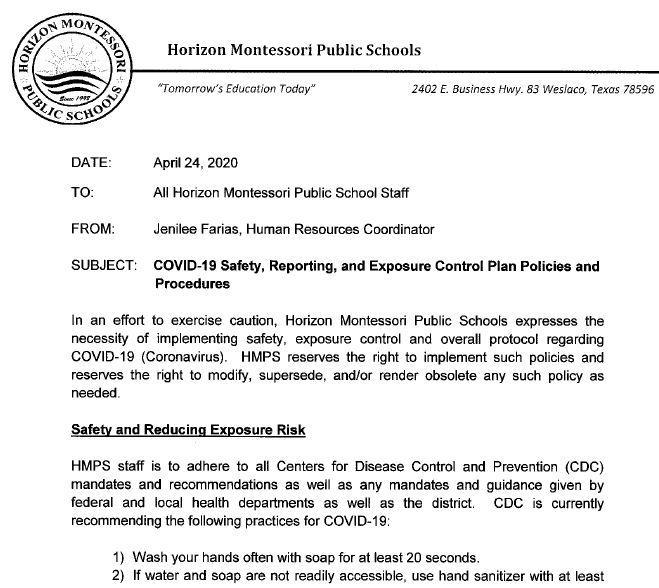Memorandum - CoVID19 Safety Featured Photo