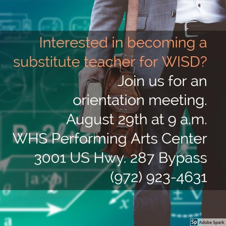 Interested in becoming a substitute teacher for WISD? Featured Photo
