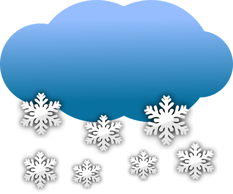 Illustration of a cloud dropping snowflakes