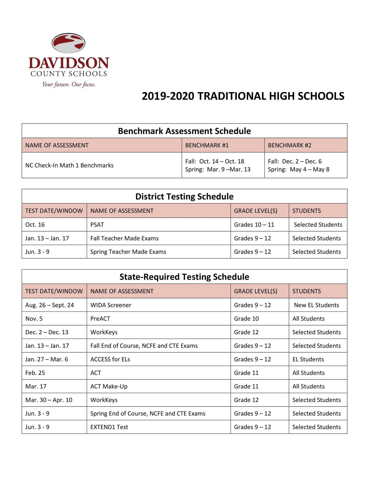 2019-2020 HS Testing Schedule