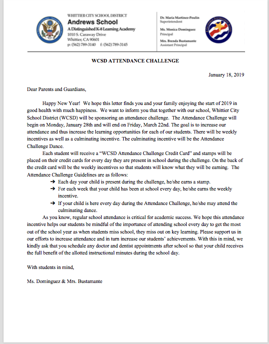Attendance Challenge Letter image