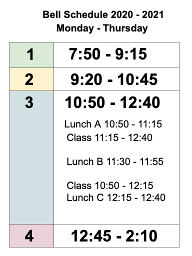 BELL SCHEDULE for the 2020 - 2021 School Year is posted! Thumbnail Image