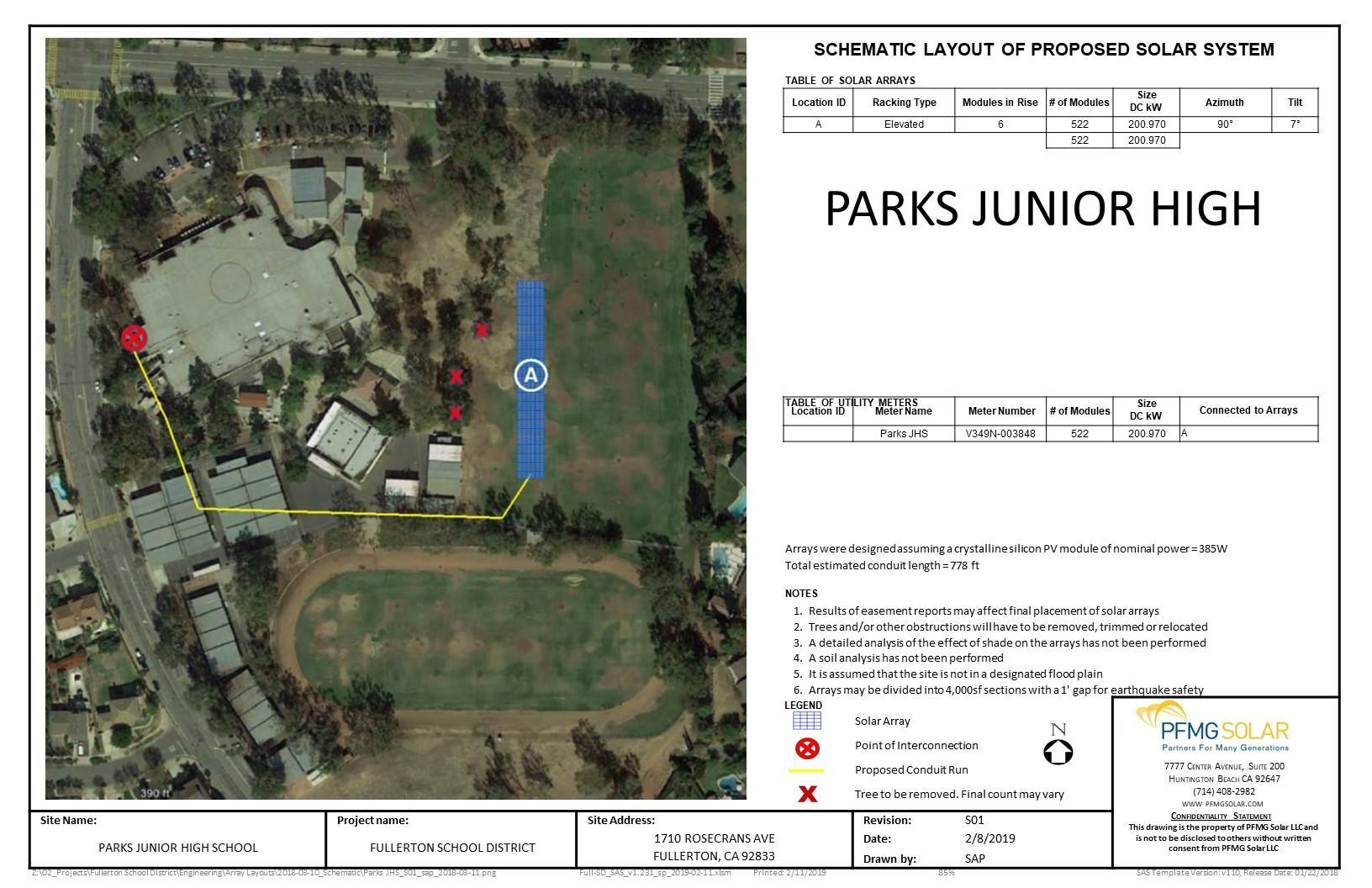 Parks Junior High Schematic Layout of Proposed Solar System